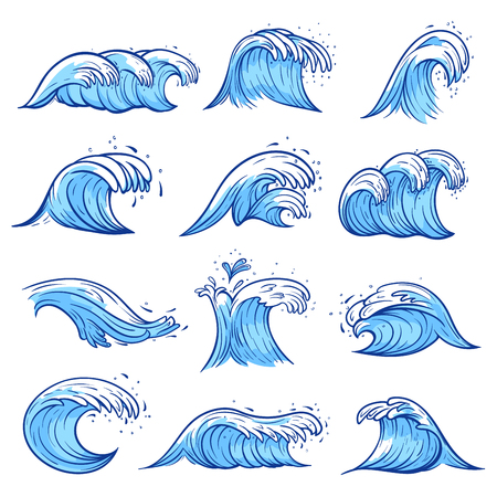 Sea waves set, blue marine and ocean nature. Creative swaying motion, decoration element. Vector illustration on white background