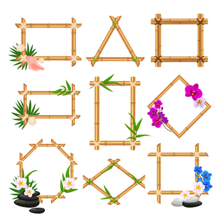 Bamboo frame set, wooden blank template collection. Natural tree elements. Vector flat style cartoon illustration isolated on white background