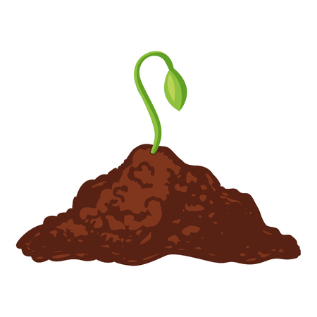 Sprout green icon, growing from black soil. New young shoot of a plant. Vector flat style cartoon illustration isolated on white background Illustration
