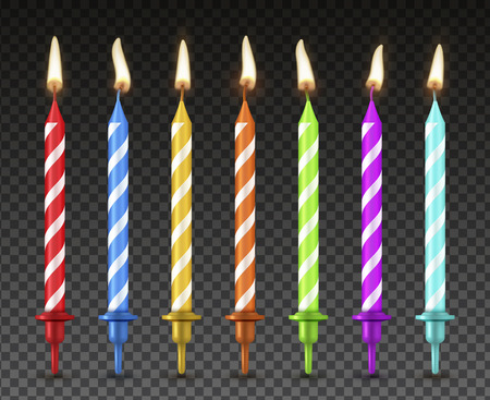 Set di candele per torta, decorazione per le vacanze in stile realistico. Decoro per dessert di compleanno, effetto fiamma di colore brillante. Illustrazione vettoriale