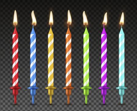 Zestaw świeczek do ciasta, dekoracja świąteczna w realistycznym stylu. Urodzinowy wystrój deseru, efekt jasnego koloru płomienia. Ilustracja wektorowa
