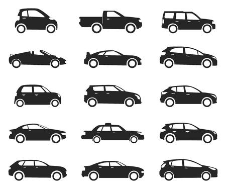 Insieme di vista laterale dell'icona dell'automobile, sagoma nera. Veicolo stradale a quattro ruote, trasporto aziendale e sport automobilistico. Illustrazione vettoriale Vettoriali