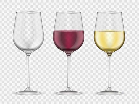 Set da bar in vetro in stile realistico per bicchieri da vino. Collezione di bicchieri da vino rosso e bianco, simbolo gourmet. Illustrazione vettoriale Vettoriali
