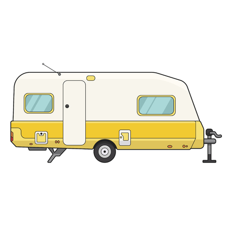 Camping trailer icon, mobile motor auto for leisure. Vector flat style cartoon illustration isolated on white background