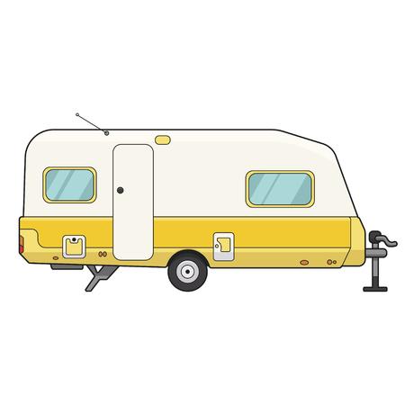 Icono de remolque de camping, automóvil de motor móvil para el ocio. Ilustración de dibujos animados de estilo plano de vector aislado sobre fondo blanco