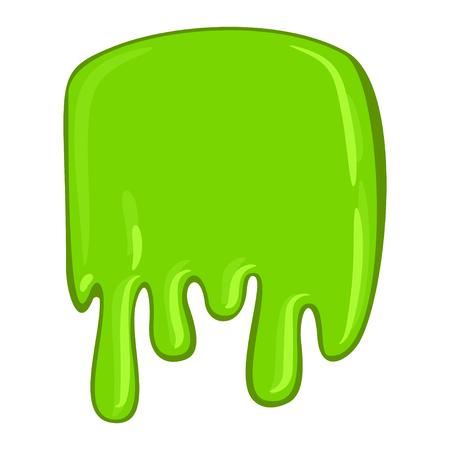 Green slime icon, decorative sticky paint blob. Splash halloween design. Vector flat style cartoon illustration isolated on white background