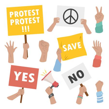 People hands holding strike and manifestation protest signs Ilustração