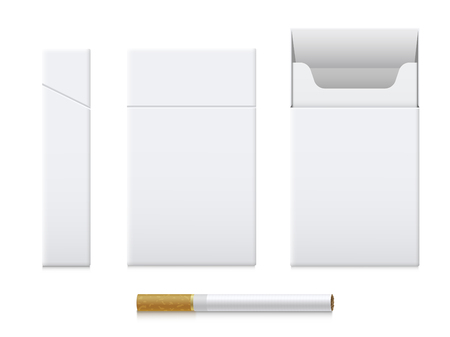 Cigarette pack realistic set, cardboard template design  イラスト・ベクター素材