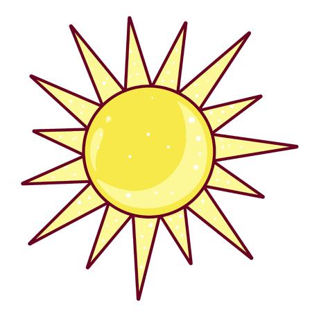 Sun icon, bright sunrise weather yellow element