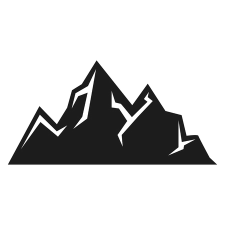 Mountain icon, expedition and sport black silhouette Иллюстрация