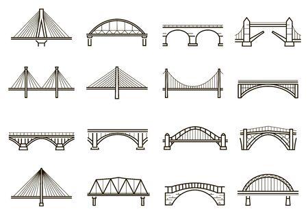 Bridges line icon set, city architecture construction Иллюстрация