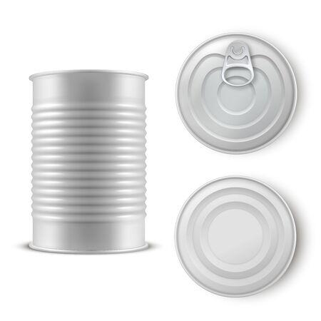 Realistic gray tin can set, metal template
