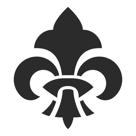 Fleur de lis symbol, black silhouette icon