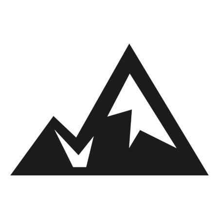 Mountain silhouette icon, black outdoor landscape symbol