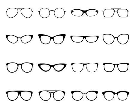 Glasses icon set, eyeglasses optical fashion vision Иллюстрация