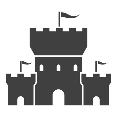 Castle black icon, tower with waving flags