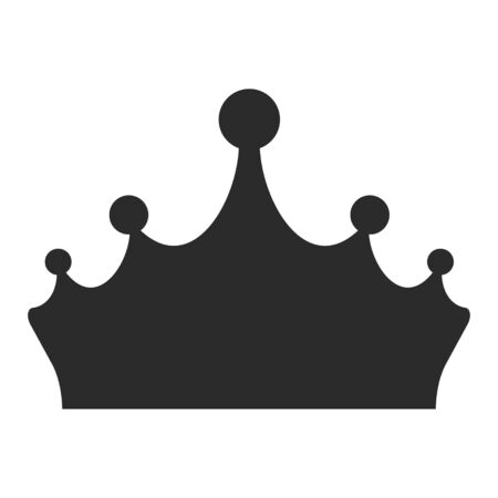 King crown black icon, medieval gem decoration