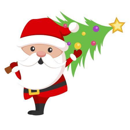 Santa Claus icon, christmas holiday celebration symbol Illustration
