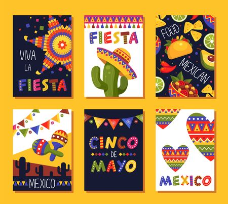 Mexican fiesta card set, festival decoration and design
