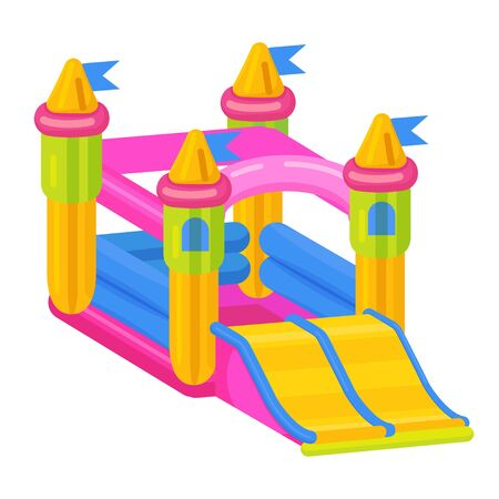 Bouncy castle icon, jumping toy for leisure activity Illustration