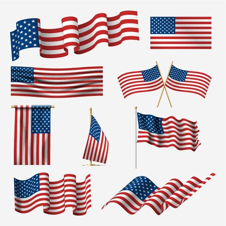 Waving american flag set, pride and democracy