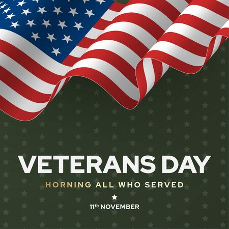 Veterans day poster, national army and soldier celebration
