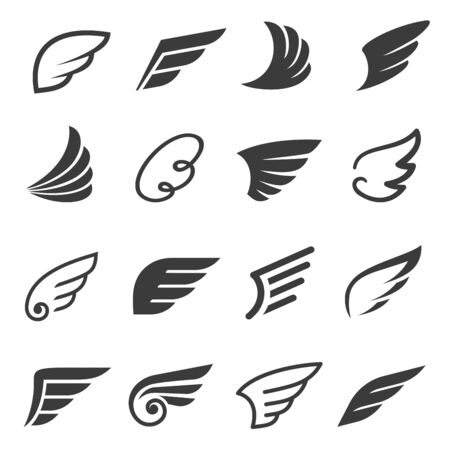 Wings icon set, angel or bird symbol Illustration