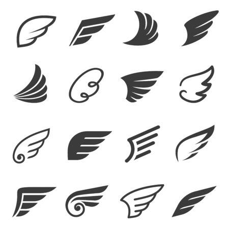 Wings icon set, angel or bird symbol 向量圖像