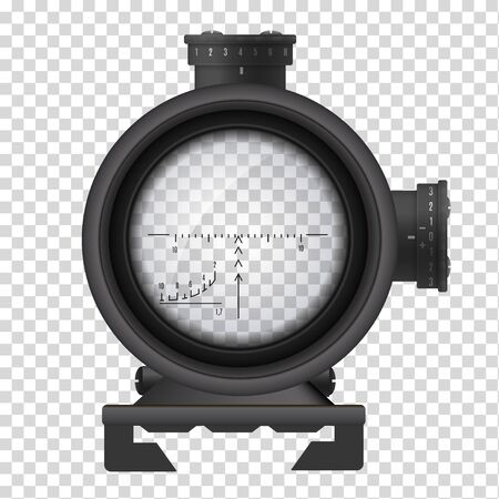 Realistic sniper scope, weapon accuracy and aim symbol Illustration
