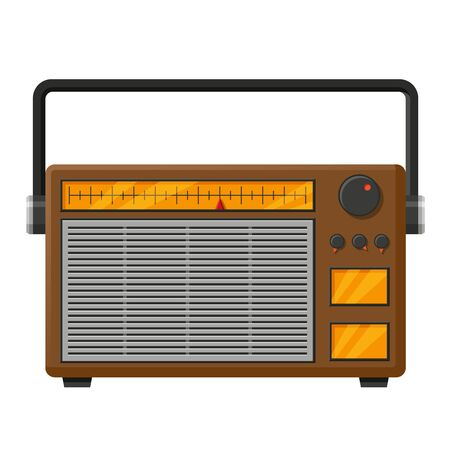 Retro radio realistic vector illustration. Vintage portable audio electronics isolated clipart on white background. Music and news listening. Old school broadcast receiver design element