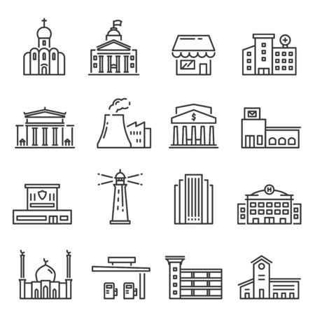 City buildings vector isolated linear icons set