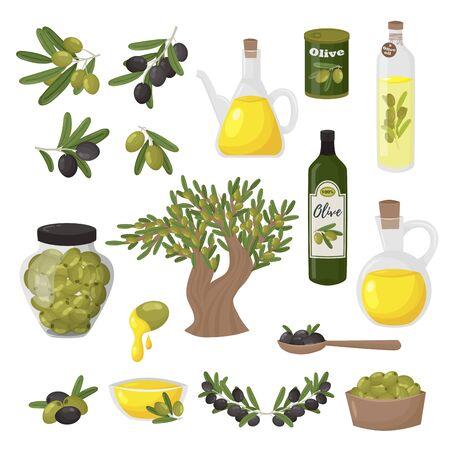 Organic olive products flat vector illustrations set