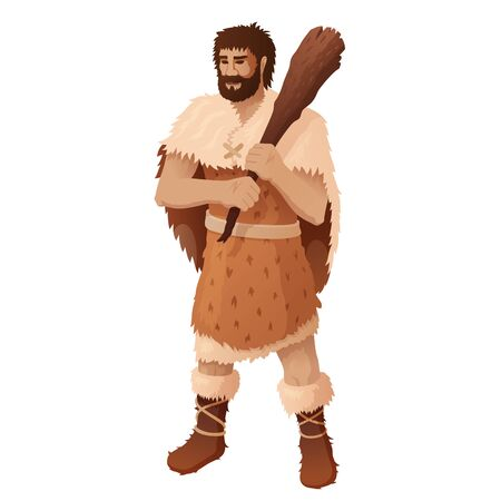 Caveman holding wooden club flat vector illustration. Prehistoric bearded man dressed in animal pelt and shoes isolated cartoon character on white background. Neanderthal hunter. Ancient homosapiens