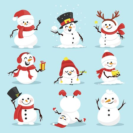 Cute christmas snowmen flat vector illustrations set. Winter outdoor activity for kids isolated cliparts pack. Funny snow man wearing hat, scarf and mittens collection on blue background Illustration
