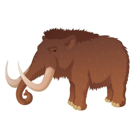 Prehistoric mammoth with long tusks vector illustration 일러스트