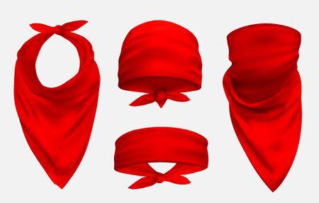 Red bandana realistic 3d accessory illustrations set Illusztráció
