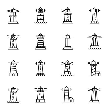 Lighthouses, navigational aid towers vector linear icons set Stok Fotoğraf - 130949027
