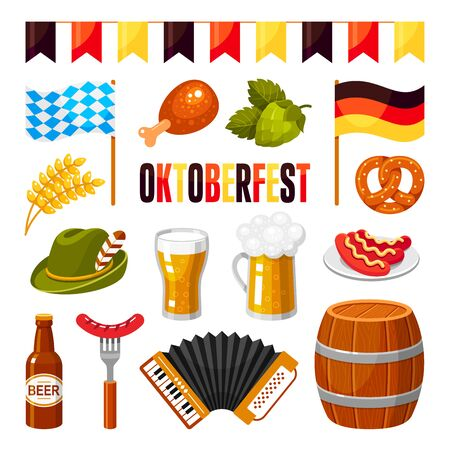 Oktoberfest german celebration flat vector illustrations set. Germany national beer festival symbols isolated cliparts on white background. Alcohol drinks in glasses, barrel and bottle stickers pack