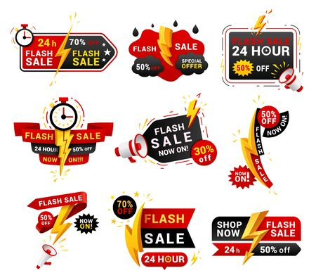 Flash sales shopping promotional labels vector set. One day only discounts badges isolated pack on white background. 24 hours low price special offers advertisement stickers collection  イラスト・ベクター素材