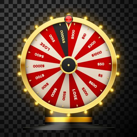 Casino spinning fortune wheel vector realistic illustration