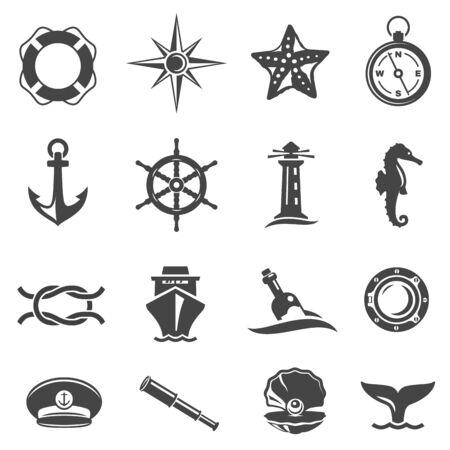 Sea voyage accessories glyph vector icons set