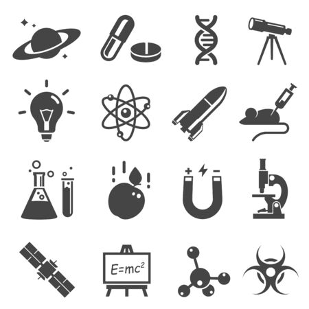 Scientific study and research glyph vector icons set Ilustração