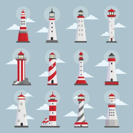 Lighthouses with clouds flat vector illustrations set