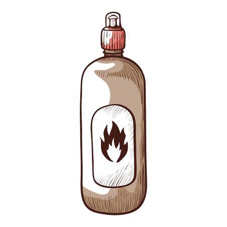 Bonfire liquid icon, bottle for starting flame