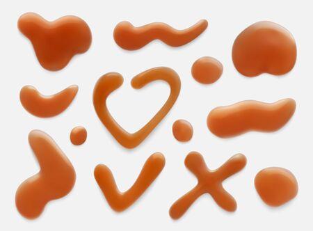 Caramel brown drops realistic vector illustrations set Иллюстрация
