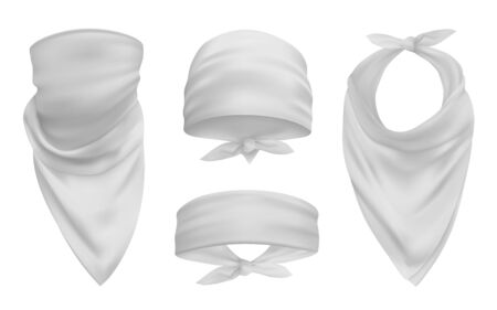 White head bandana realistic 3d accessory illustrations set