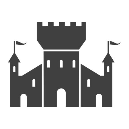 Fortress black icon, tower for strong fortification