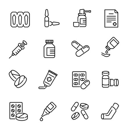 Medical drugs, medications vector linear icons set. Pharmacy products. Pills, syringe, inhaler thin line illustrations pack. Healthcare and therapy. Medication prescription isolated clipart collection Ilustração