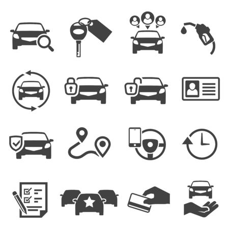 Car sharing black glyph icons vector set. Automobile, petrol station silhouette symbols. City transportation, carpooling service. Blocked and available auto, map pointer isolated illustrations Ilustração