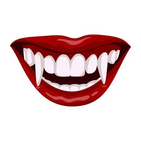Vampire open mouth icon, horror teeth symbol